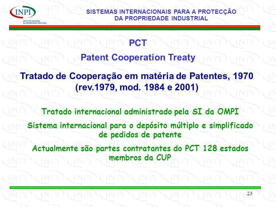 23 PCT Patent Cooperation Treaty SISTEMAS INTERNACIONAIS PARA A PROTECÇÃO DA PROPRIEDADE INDUSTRIAL Tratado de Cooperação em matéria de Patentes, 1970 (rev.1979, mod.