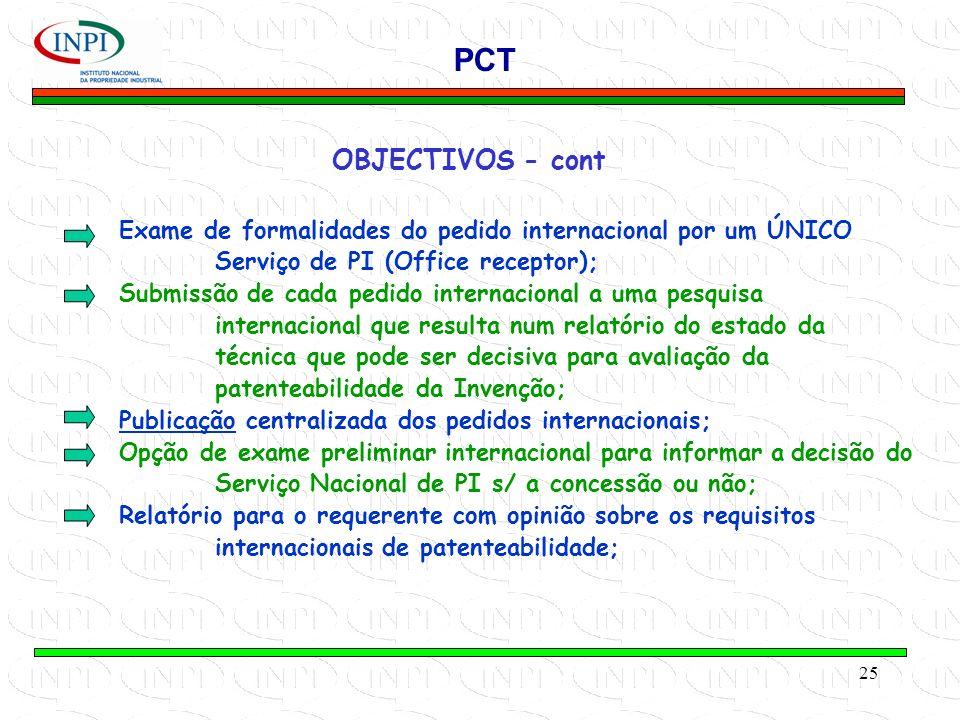 25 OBJECTIVOS - cont PCT Exame de formalidades do pedido internacional por um ÚNICO Serviço de PI (Office receptor); Submissão de cada pedido internacional a uma pesquisa internacional que resulta num relatório do estado da técnica que pode ser decisiva para avaliação da patenteabilidade da Invenção; Publicação centralizada dos pedidos internacionais; Opção de exame preliminar internacional para informar adecisão do Serviço Nacional de PI s/ a concessão ou não; Relatório para o requerente com opinião sobre os requisitos internacionais de patenteabilidade;