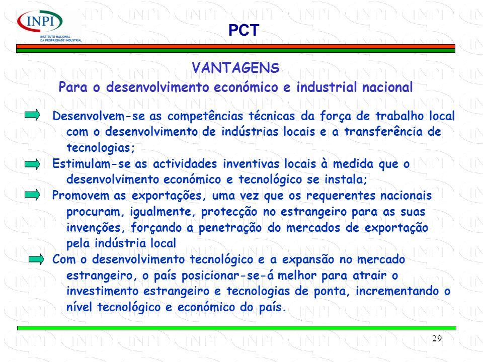 29 VANTAGENS Para o desenvolvimento económico e industrial nacional PCT Desenvolvem-se as competências técnicas da força de trabalho local com o desenvolvimento de indústrias locais e a transferência de tecnologias; Estimulam-se as actividades inventivas locais à medida que o desenvolvimento económico e tecnológico se instala; Promovem as exportações, uma vez que os requerentes nacionais procuram, igualmente, protecção no estrangeiro para as suas invenções, forçando a penetração do mercados de exportação pela indústria local Com o desenvolvimento tecnológico e a expansão no mercado estrangeiro, o país posicionar-se-á melhor para atrair o investimento estrangeiro e tecnologias de ponta, incrementando o nível tecnológico e económico do país.