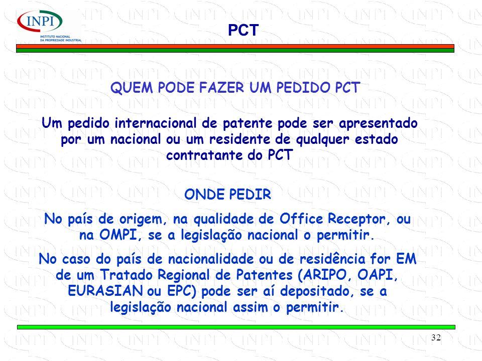 32 QUEM PODE FAZER UM PEDIDO PCT PCT Um pedido internacional de patente pode ser apresentado por um nacional ou um residente de qualquer estado contratante do PCT ONDE PEDIR No país de origem, na qualidade de Office Receptor, ou na OMPI, se a legislação nacional o permitir.