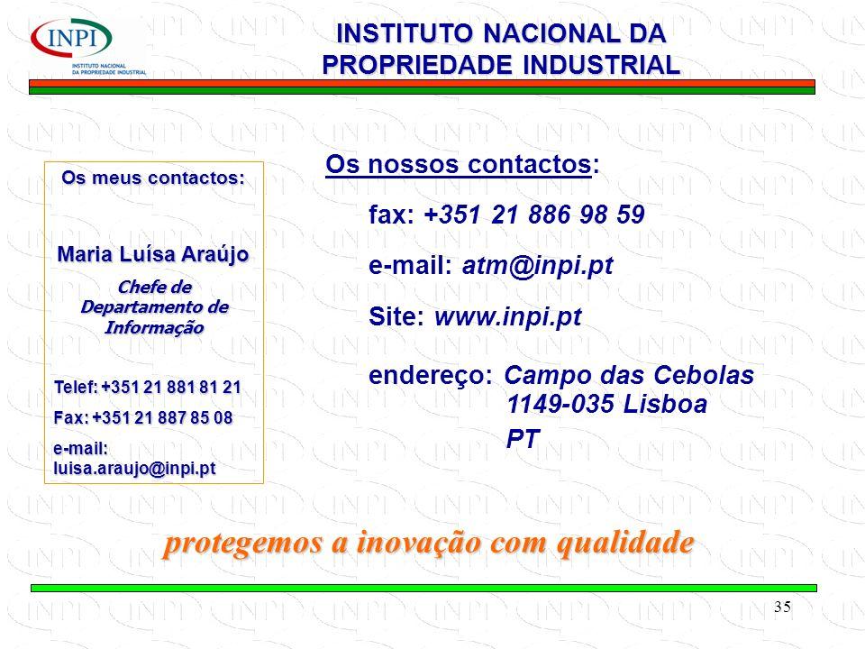 35 protegemos a inovação com qualidade INSTITUTO NACIONAL DA PROPRIEDADE INDUSTRIAL Os nossos contactos: fax: +351 21 886 98 59 e-mail: atm@inpi.pt Site: www.inpi.pt endereço: Campo das Cebolas 1149-035 Lisboa PT Os meus contactos: Maria Luísa Araújo Chefe de Departamento de Informação Telef: +351 21 881 81 21 Fax: +351 21 887 85 08 e-mail: luisa.araujo@inpi.pt