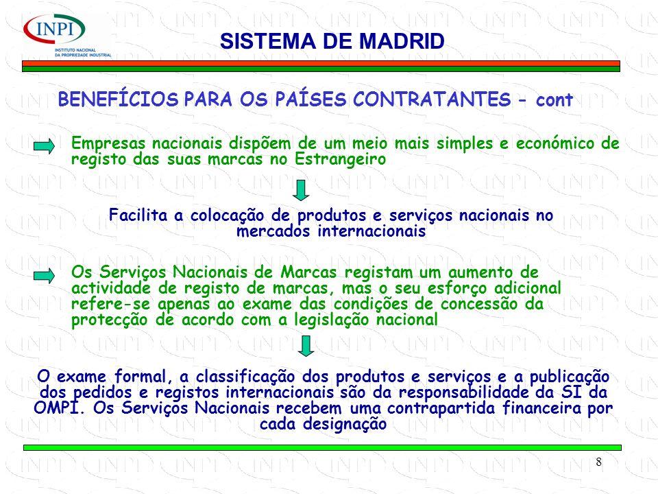 8 BENEFÍCIOS PARA OS PAÍSES CONTRATANTES - cont SISTEMA DE MADRID Empresas nacionais dispõem de um meio mais simples e económico de registo das suas marcas no Estrangeiro Facilita a colocação de produtos e serviços nacionais no mercados internacionais Os Serviços Nacionais de Marcas registam um aumento de actividade de registo de marcas, mas o seu esforço adicional refere-se apenas ao exame das condições de concessão da protecção de acordo com a legislação nacional O exame formal, a classificação dos produtos e serviços e a publicação dos pedidos e registos internacionais são da responsabilidade da SI da OMPI.