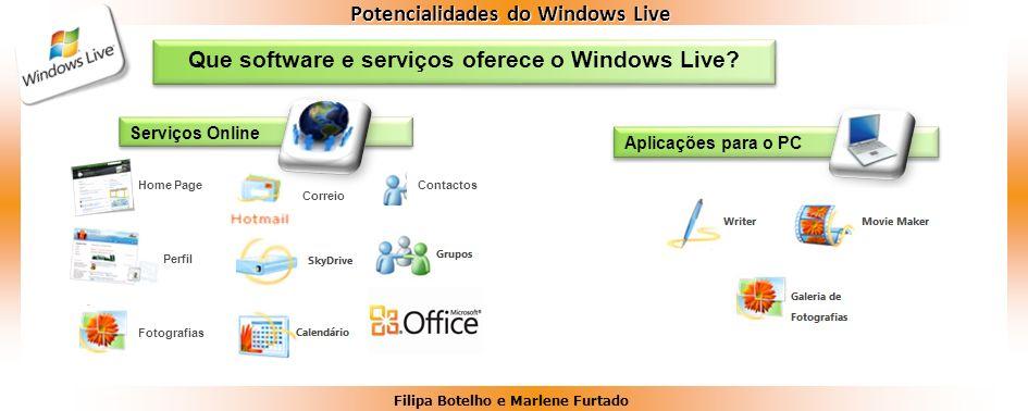 Filipa Botelho e Marlene Furtado Potencialidades do Windows Live Que software e serviços oferece o Windows Live? Serviços Online Aplicações para o PC