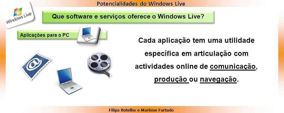 Filipa Botelho e Marlene Furtado Potencialidades do Windows Live Que software e serviços oferece o Windows Live? Aplicações para o PC Cada aplicação t
