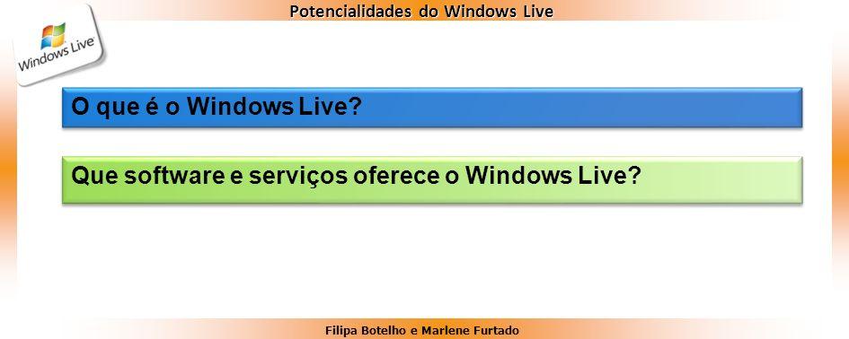 Filipa Botelho e Marlene Furtado Potencialidades do Windows Live O que é o Windows Live? Que software e serviços oferece o Windows Live?