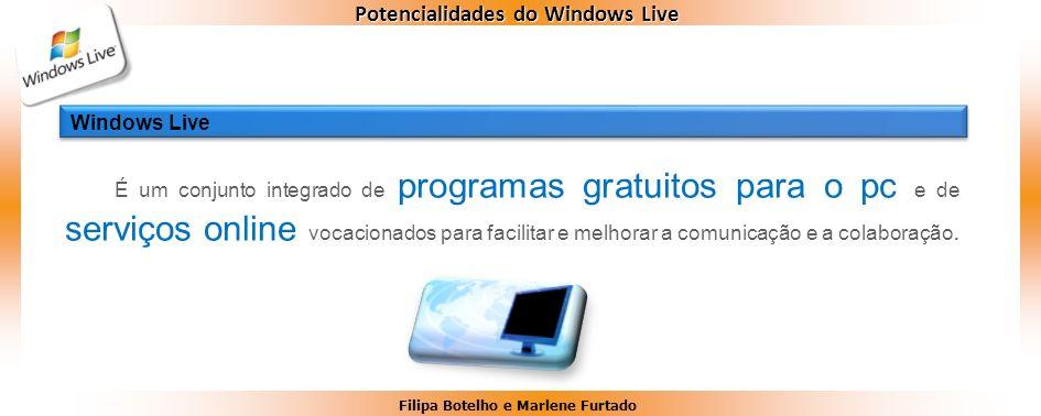 Filipa Botelho e Marlene Furtado Potencialidades do Windows Live É um conjunto integrado de programas gratuitos para o pc e de serviços online vocacio