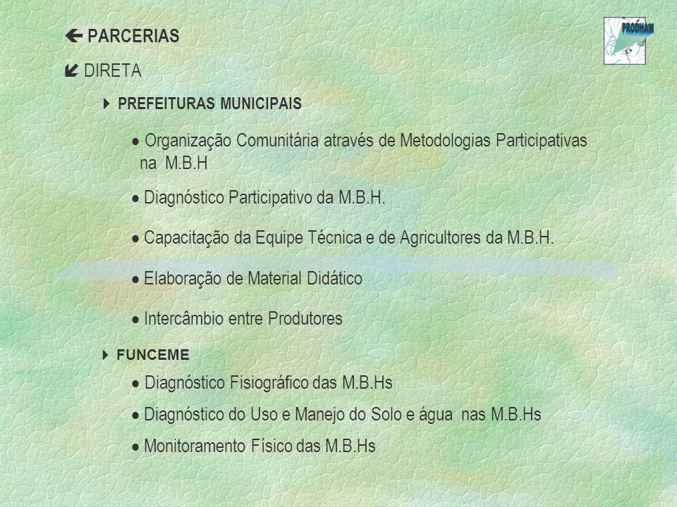 PARCERIAS DIRETA PREFEITURAS MUNICIPAIS Organização Comunitária através de Metodologias Participativas na M.B.H Diagnóstico Participativo da M.B.H. Ca