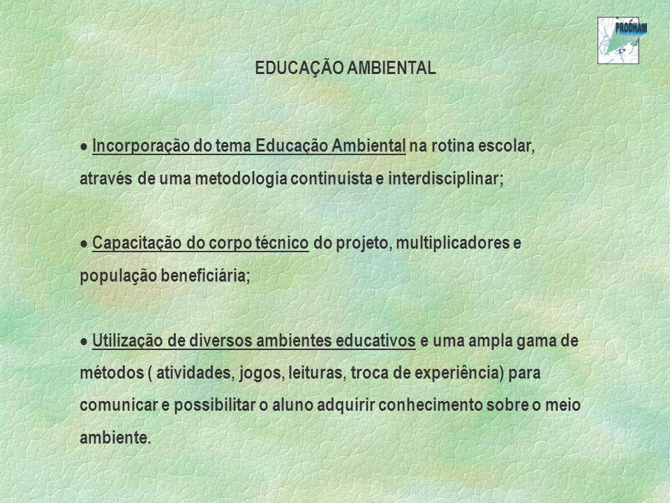EDUCAÇÃO AMBIENTAL Incorporação do tema Educação Ambiental na rotina escolar, através de uma metodologia continuista e interdisciplinar; Capacitação d