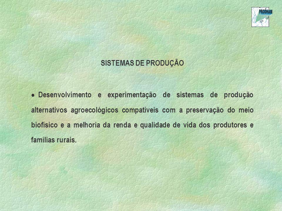 SISTEMAS DE PRODUÇÃO Desenvolvimento e experimentação de sistemas de produção alternativos agroecológicos compatíveis com a preservação do meio biofís
