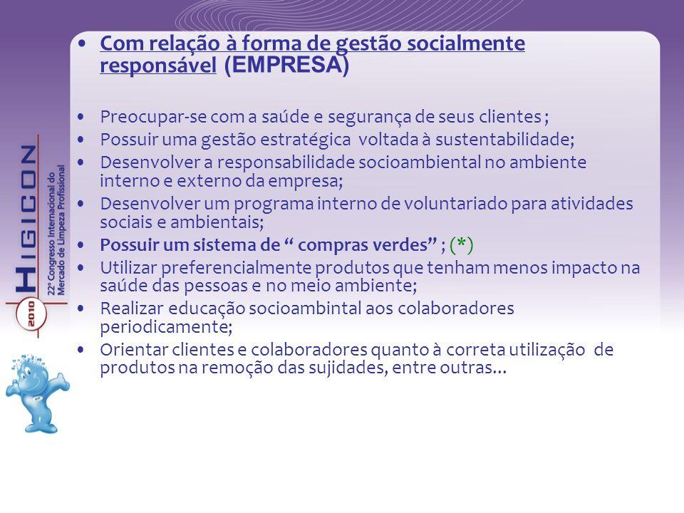 Com relação à forma de gestão socialmente responsável (EMPRESA) Preocupar-se com a saúde e segurança de seus clientes ; Possuir uma gestão estratégica
