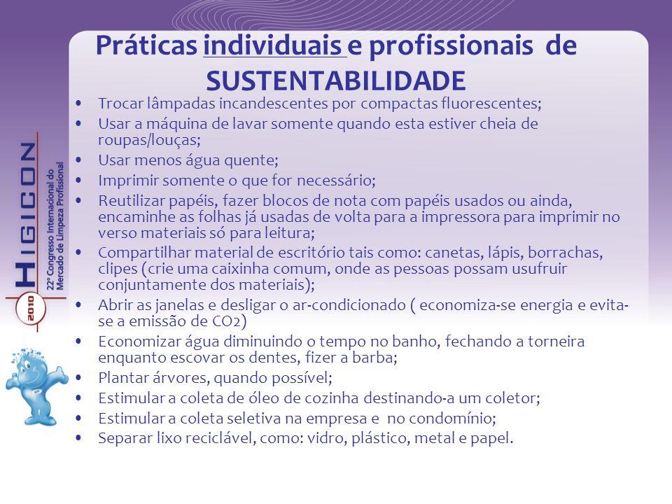 Práticas individuais e profissionais de SUSTENTABILIDADE Trocar lâmpadas incandescentes por compactas fluorescentes; Usar a máquina de lavar somente q