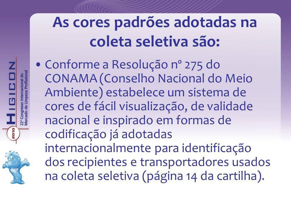 As cores padrões adotadas na coleta seletiva são: Conforme a Resolução nº 275 do CONAMA (Conselho Nacional do Meio Ambiente) estabelece um sistema de