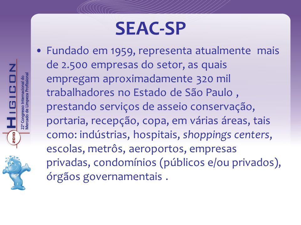 SEAC-SP Fundado em 1959, representa atualmente mais de 2.500 empresas do setor, as quais empregam aproximadamente 320 mil trabalhadores no Estado de S