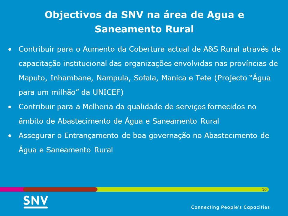 10 Objectivos da SNV na área de Agua e Saneamento Rural Contribuir para o Aumento da Cobertura actual de A&S Rural através de capacitação instituciona