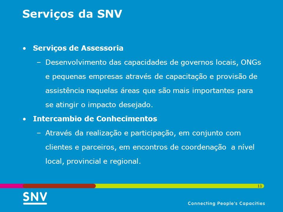 11 Serviços da SNV Serviços de Assessoria –Desenvolvimento das capacidades de governos locais, ONGs e pequenas empresas através de capacitação e provi