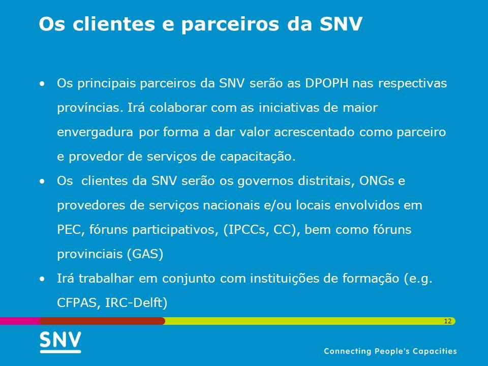 12 Os clientes e parceiros da SNV Os principais parceiros da SNV serão as DPOPH nas respectivas províncias. Irá colaborar com as iniciativas de maior