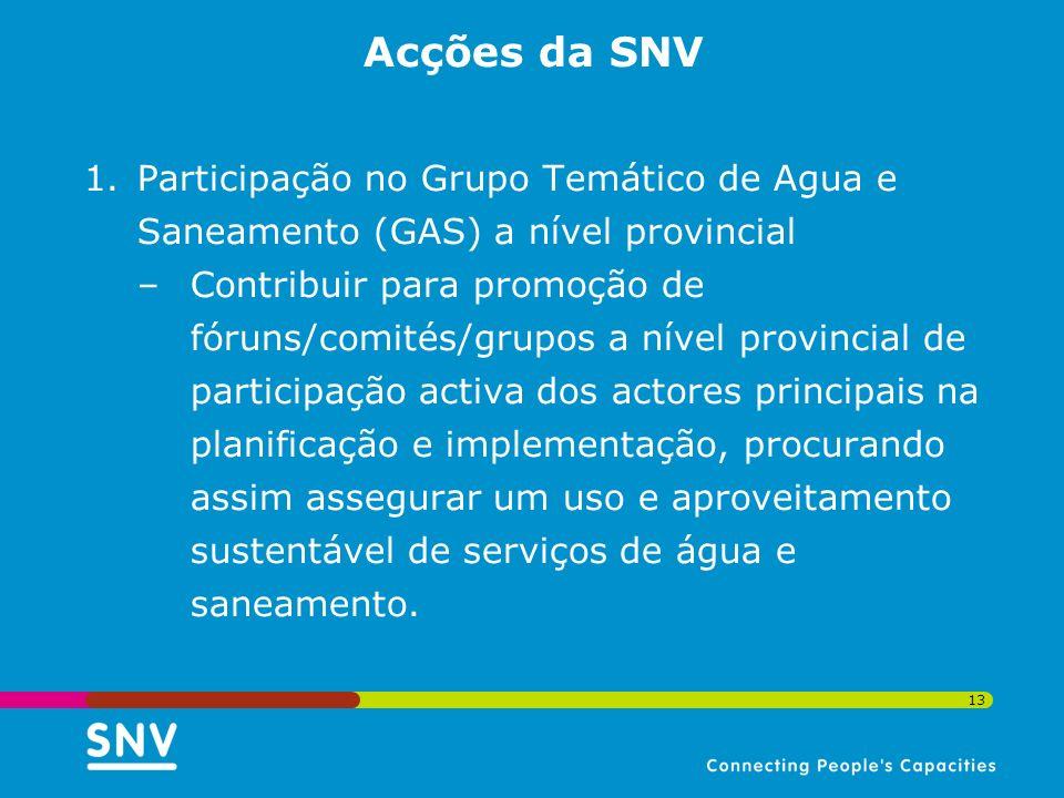13 Acções da SNV 1.Participação no Grupo Temático de Agua e Saneamento (GAS) a nível provincial –Contribuir para promoção de fóruns/comités/grupos a n