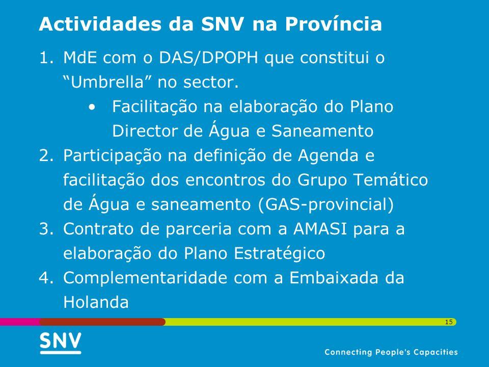 15 Actividades da SNV na Província 1.MdE com o DAS/DPOPH que constitui o Umbrella no sector. Facilitação na elaboração do Plano Director de Água e San