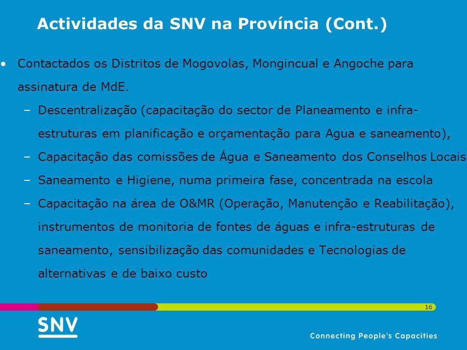 16 Actividades da SNV na Província (Cont.) Contactados os Distritos de Mogovolas, Mongincual e Angoche para assinatura de MdE. –Descentralização (capa