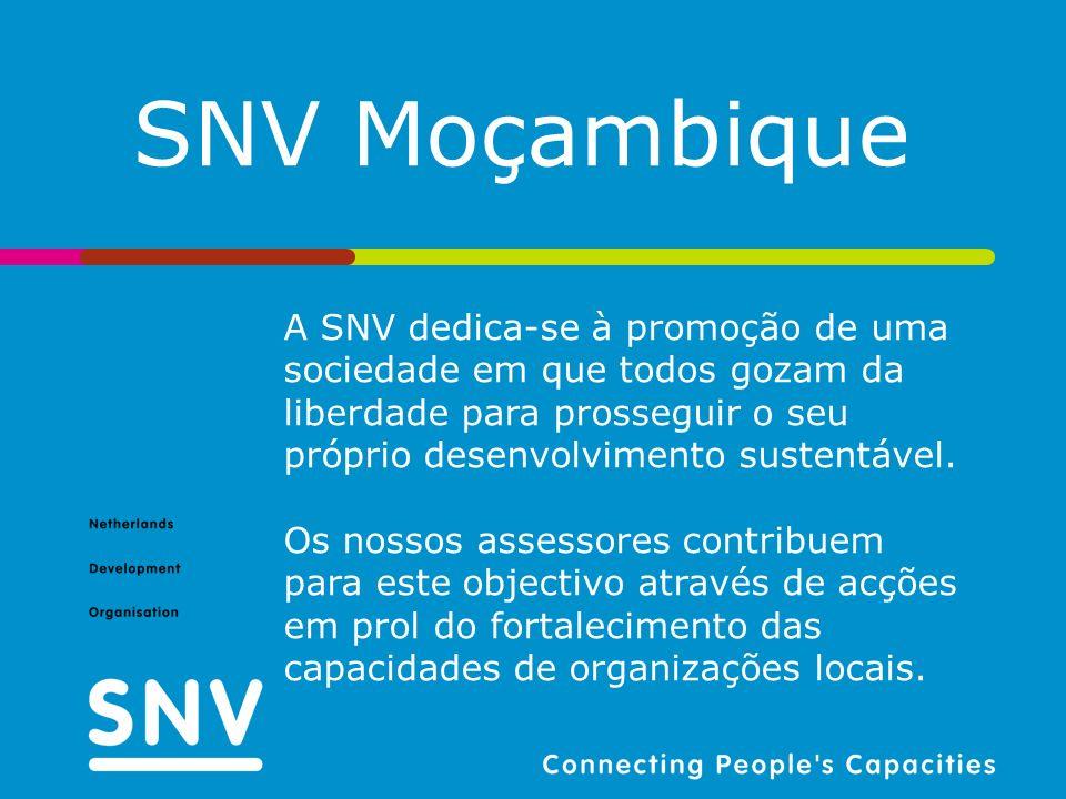A SNV dedica-se à promoção de uma sociedade em que todos gozam da liberdade para prosseguir o seu próprio desenvolvimento sustentável. Os nossos asses