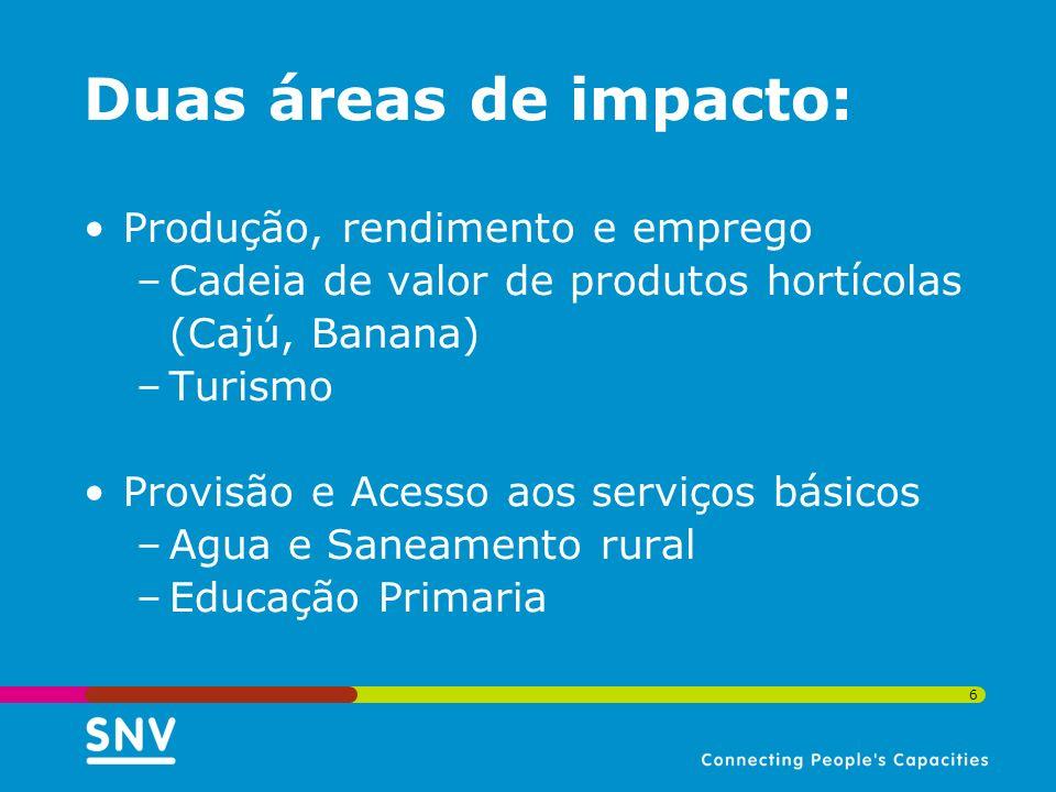 6 Duas áreas de impacto: Produção, rendimento e emprego –Cadeia de valor de produtos hortícolas (Cajú, Banana) –Turismo Provisão e Acesso aos serviços