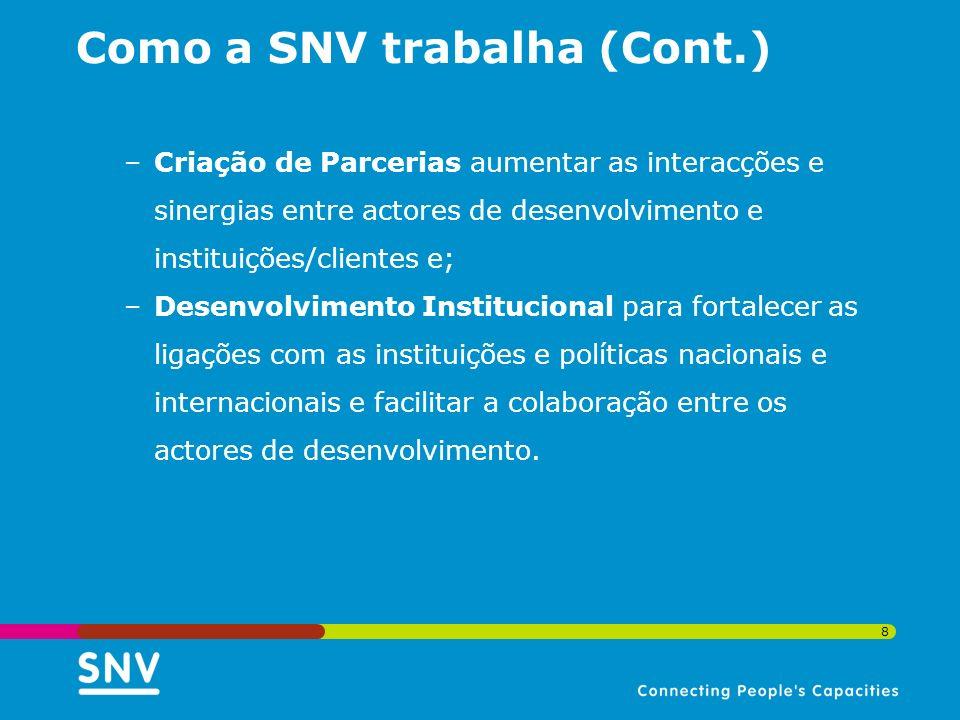 8 Como a SNV trabalha (Cont.) –Criação de Parcerias aumentar as interacções e sinergias entre actores de desenvolvimento e instituições/clientes e; –D