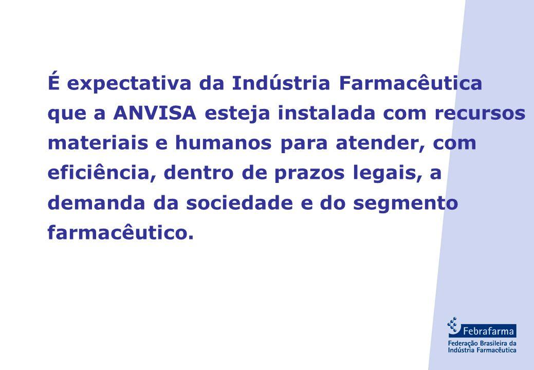 É expectativa da Indústria Farmacêutica que a ANVISA esteja instalada com recursos materiais e humanos para atender, com eficiência, dentro de prazos legais, a demanda da sociedade e do segmento farmacêutico.