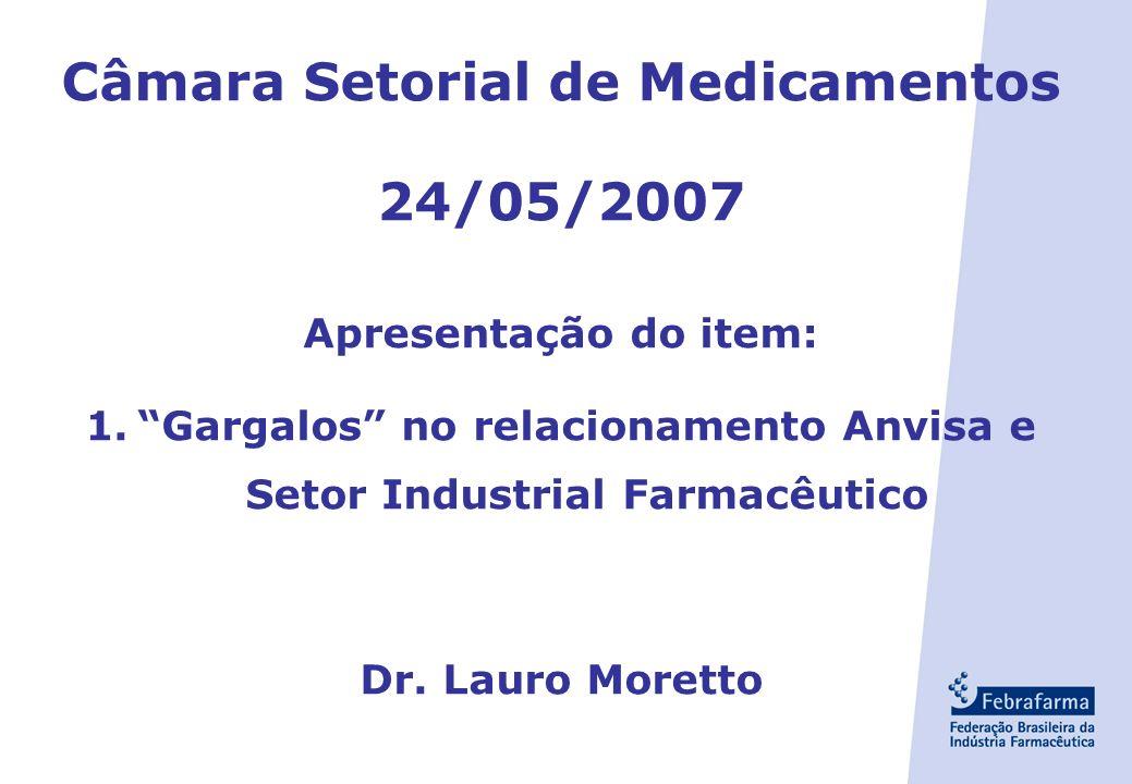 Câmara Setorial de Medicamentos 24/05/2007 Apresentação do item: 1.Gargalos no relacionamento Anvisa e Setor Industrial Farmacêutico Dr.