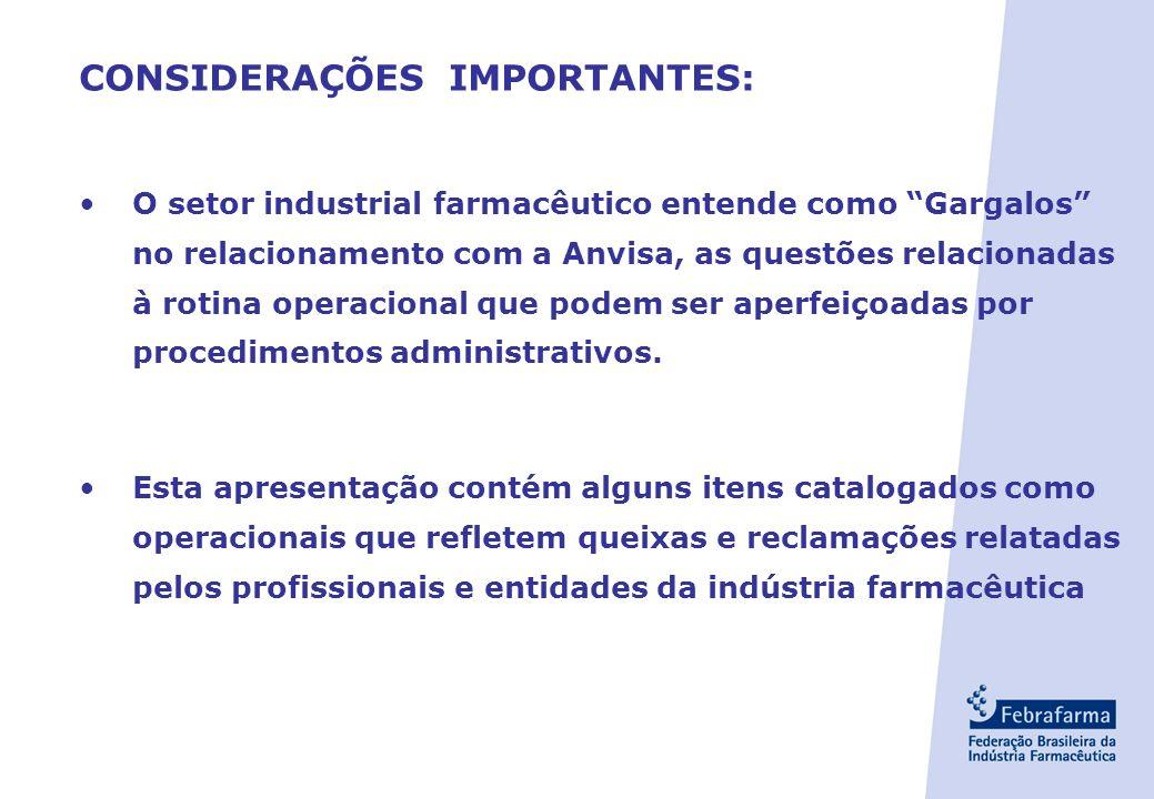 CONSIDERAÇÕES IMPORTANTES: O setor industrial farmacêutico entende como Gargalos no relacionamento com a Anvisa, as questões relacionadas à rotina operacional que podem ser aperfeiçoadas por procedimentos administrativos.
