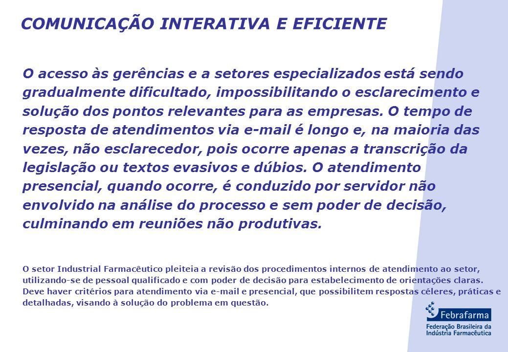 COMUNICAÇÃO INTERATIVA E EFICIENTE O acesso às gerências e a setores especializados está sendo gradualmente dificultado, impossibilitando o esclarecimento e solução dos pontos relevantes para as empresas.