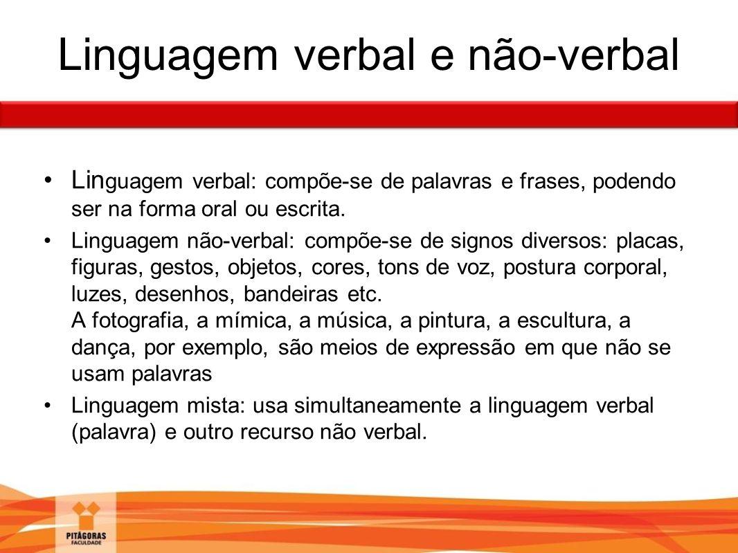 Linguagem verbal e não-verbal Lin guagem verbal: compõe-se de palavras e frases, podendo ser na forma oral ou escrita. Linguagem não-verbal: compõe-se