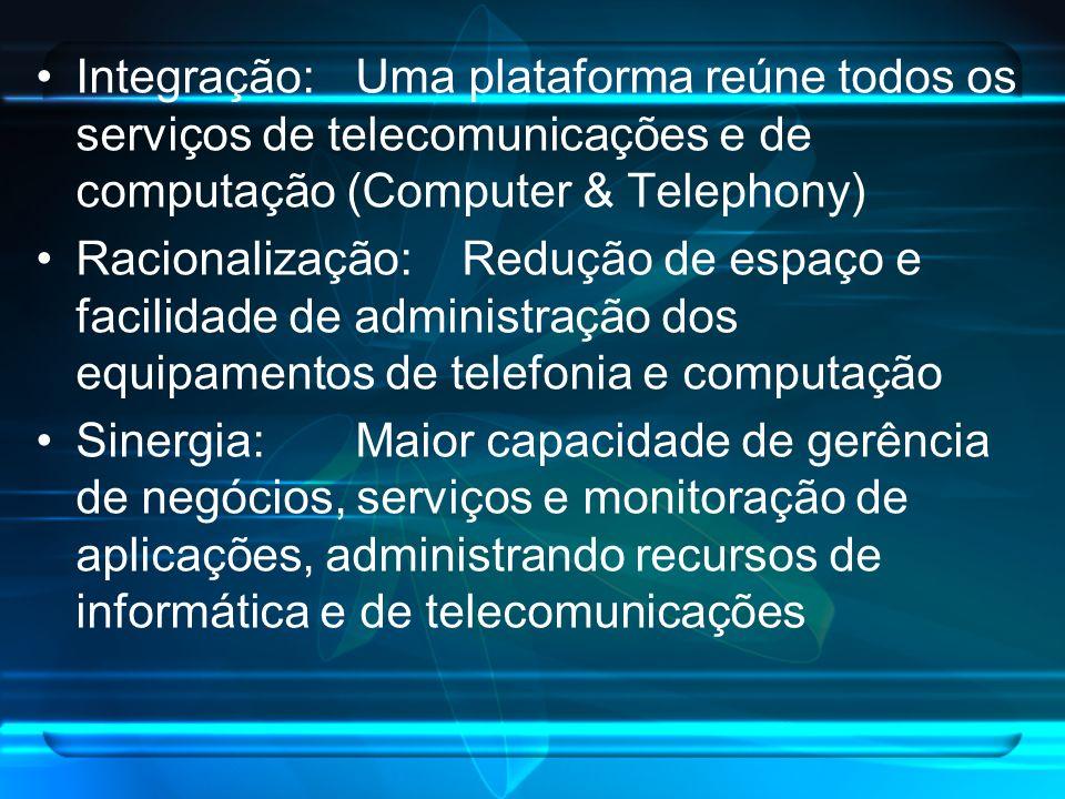 Integração:Uma plataforma reúne todos os serviços de telecomunicações e de computação (Computer & Telephony) Racionalização: Redução de espaço e facil