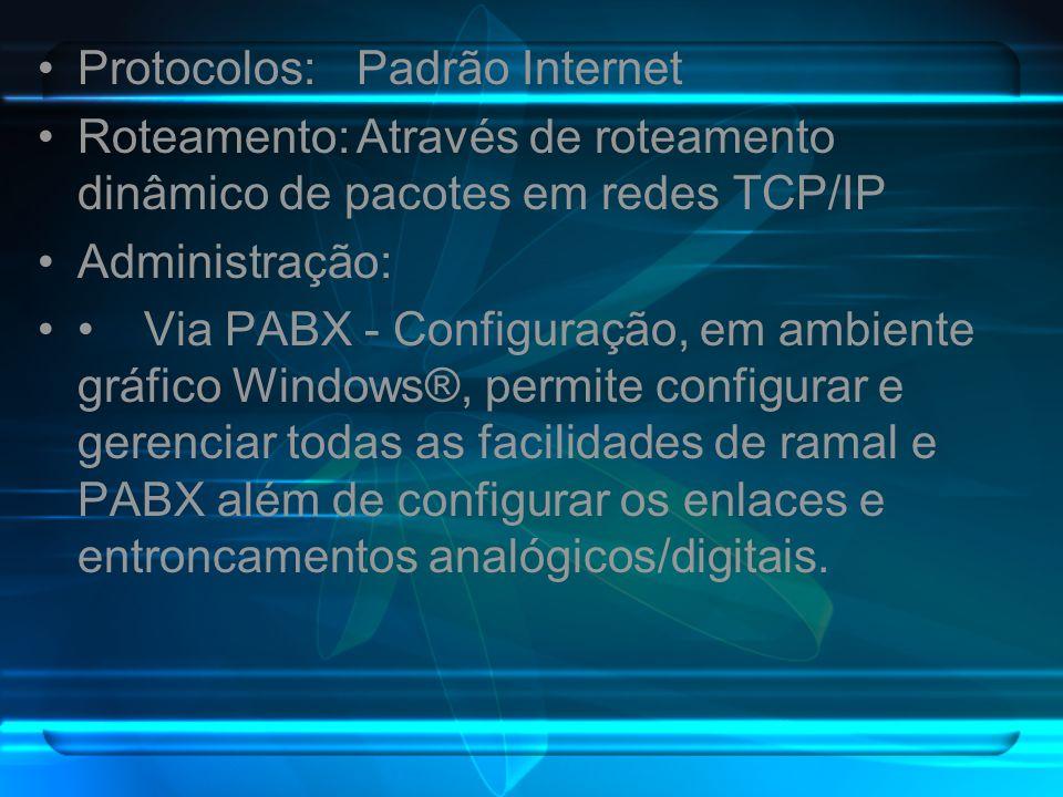 Protocolos:Padrão Internet Roteamento:Através de roteamento dinâmico de pacotes em redes TCP/IP Administração: Via PABX - Configuração, em ambiente gr