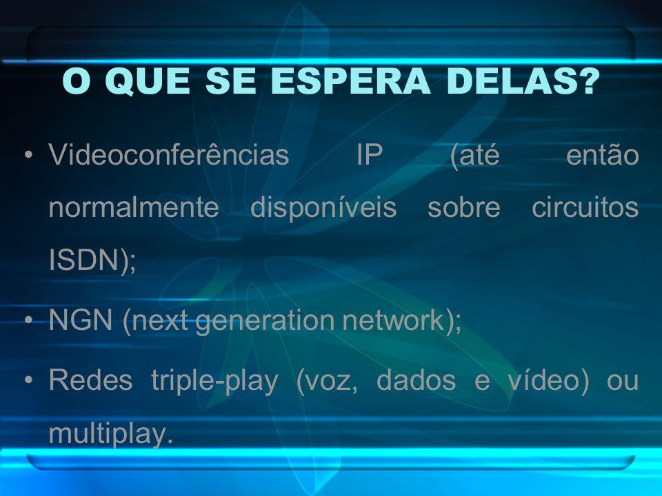 O QUE SE ESPERA DELAS? Videoconferências IP (até então normalmente disponíveis sobre circuitos ISDN); NGN (next generation network); Redes triple-play