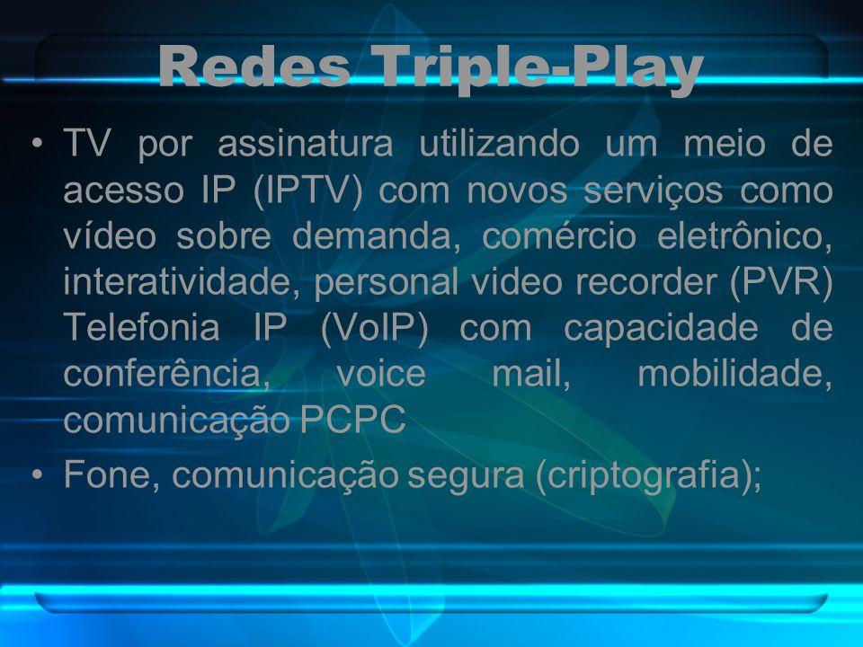 Redes Triple-Play TV por assinatura utilizando um meio de acesso IP (IPTV) com novos serviços como vídeo sobre demanda, comércio eletrônico, interativ