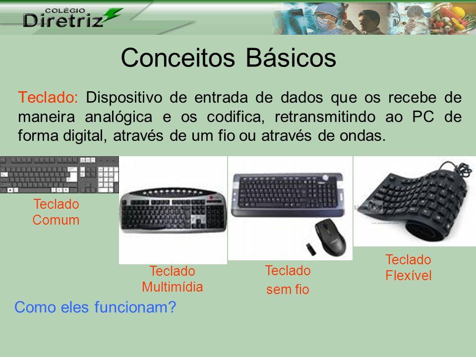 Conceitos Básicos Teclado: Dispositivo de entrada de dados que os recebe de maneira analógica e os codifica, retransmitindo ao PC de forma digital, at