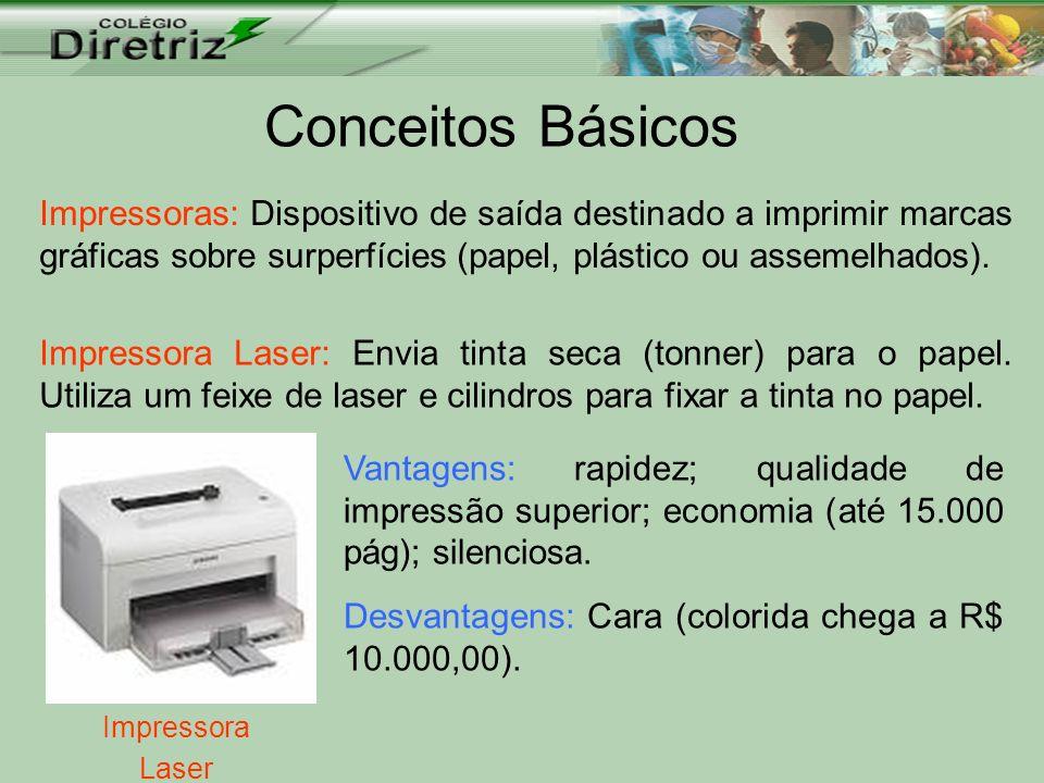 Conceitos Básicos Impressoras: Dispositivo de saída destinado a imprimir marcas gráficas sobre surperfícies (papel, plástico ou assemelhados). Impress