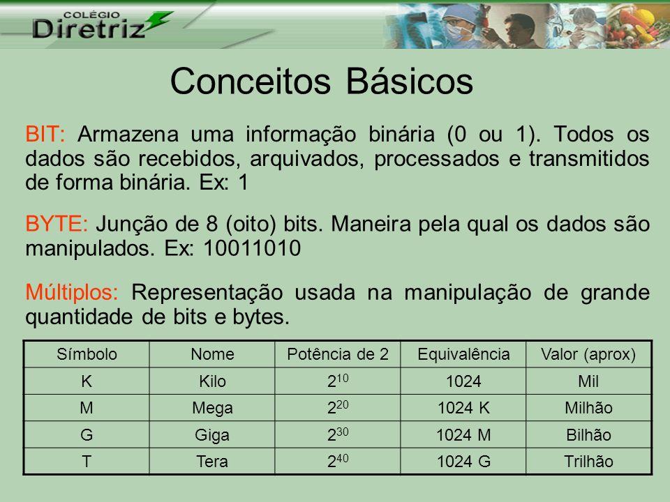 Conceitos Básicos BIT: Armazena uma informação binária (0 ou 1). Todos os dados são recebidos, arquivados, processados e transmitidos de forma binária