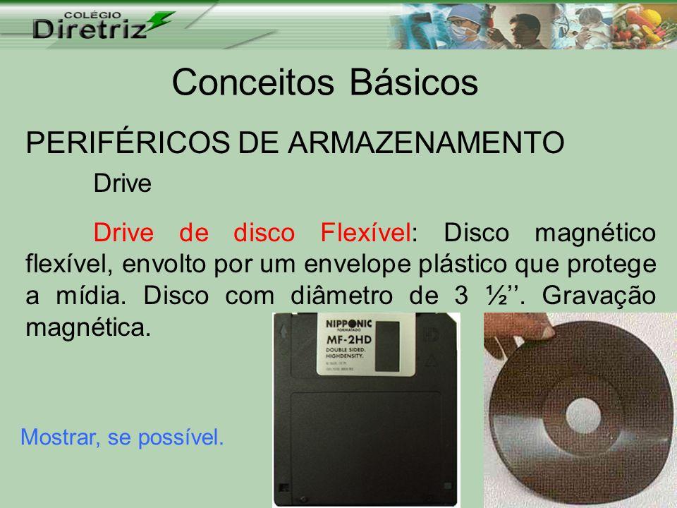 Conceitos Básicos PERIFÉRICOS DE ARMAZENAMENTO Drive Drive de disco Flexível: Disco magnético flexível, envolto por um envelope plástico que protege a