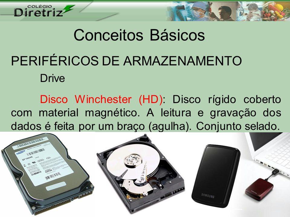 Conceitos Básicos PERIFÉRICOS DE ARMAZENAMENTO Drive Disco Winchester (HD): Disco rígido coberto com material magnético. A leitura e gravação dos dado