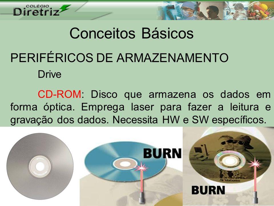 Conceitos Básicos PERIFÉRICOS DE ARMAZENAMENTO Drive CD-ROM: Disco que armazena os dados em forma óptica. Emprega laser para fazer a leitura e gravaçã