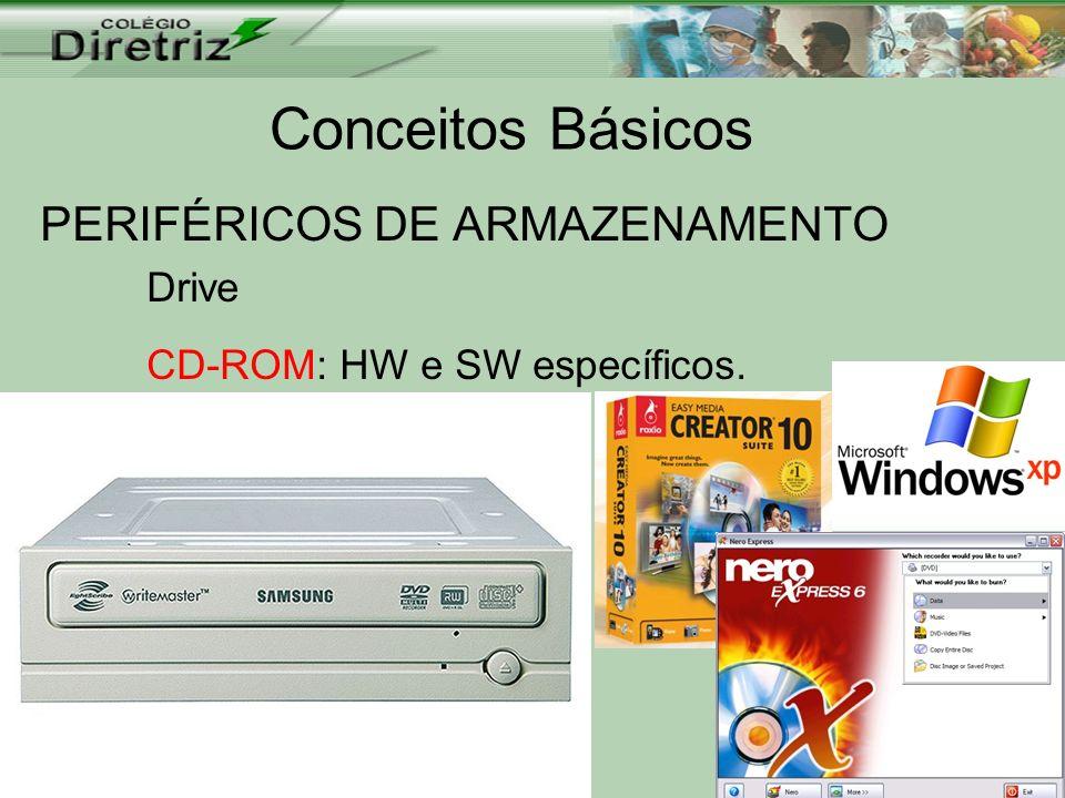Conceitos Básicos PERIFÉRICOS DE ARMAZENAMENTO Drive CD-ROM: HW e SW específicos.