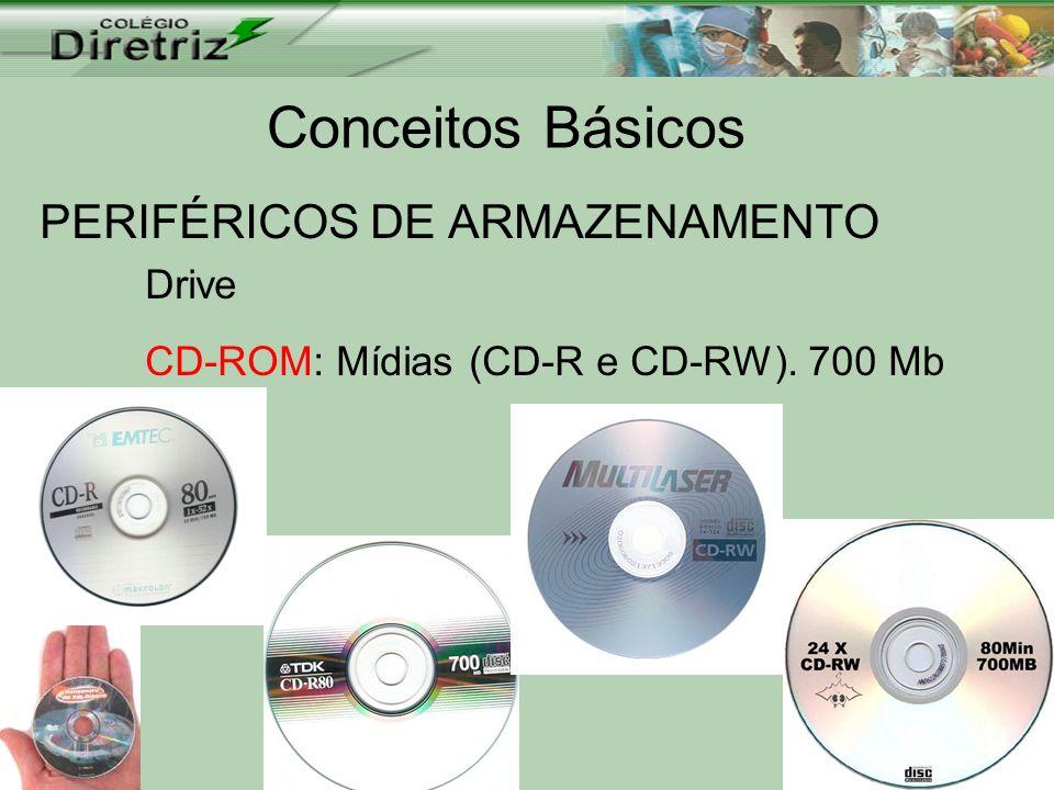 Conceitos Básicos PERIFÉRICOS DE ARMAZENAMENTO Drive CD-ROM: Mídias (CD-R e CD-RW). 700 Mb