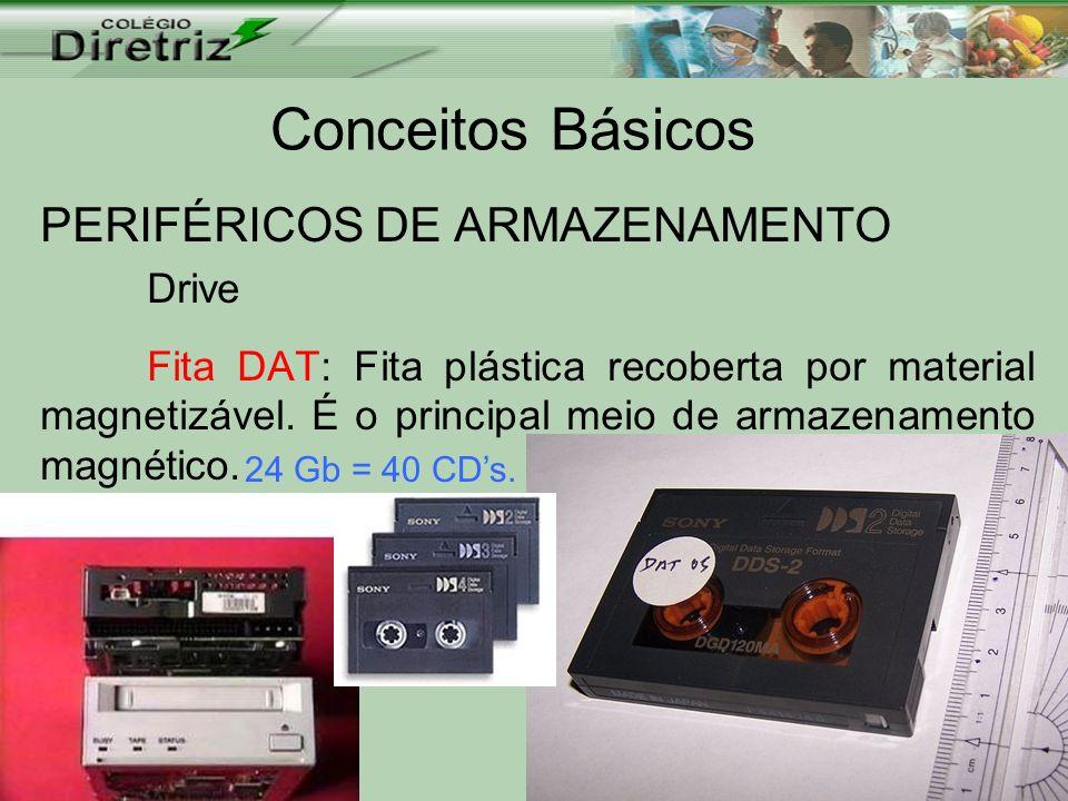 Conceitos Básicos PERIFÉRICOS DE ARMAZENAMENTO Drive Fita DAT: Fita plástica recoberta por material magnetizável. É o principal meio de armazenamento