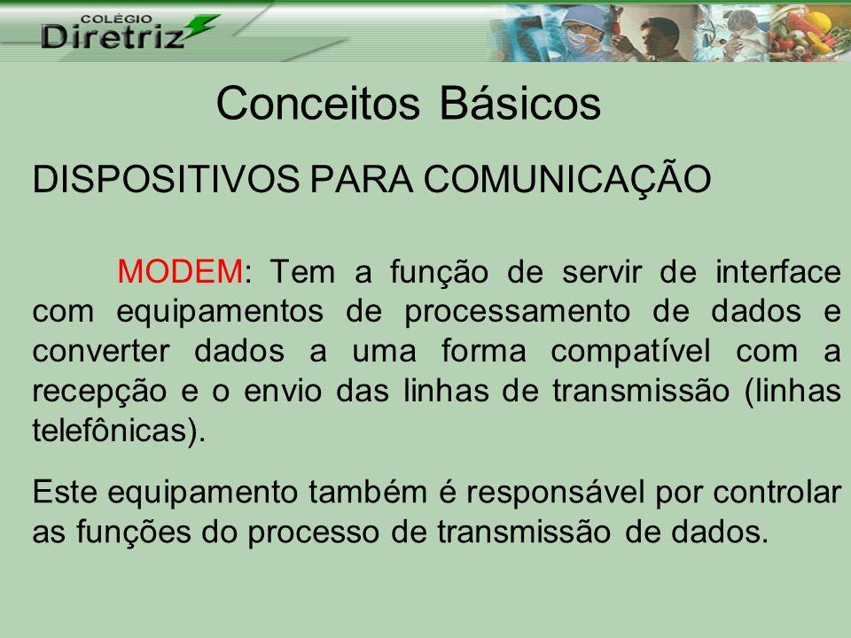 Conceitos Básicos DISPOSITIVOS PARA COMUNICAÇÃO MODEM: Tem a função de servir de interface com equipamentos de processamento de dados e converter dado