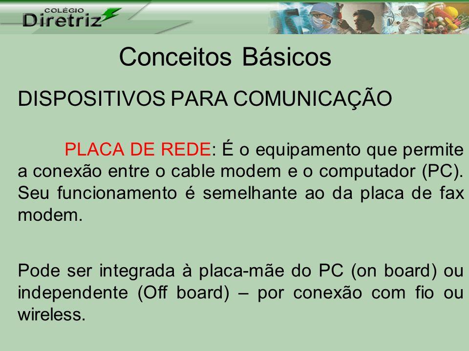 Conceitos Básicos DISPOSITIVOS PARA COMUNICAÇÃO PLACA DE REDE: É o equipamento que permite a conexão entre o cable modem e o computador (PC). Seu func