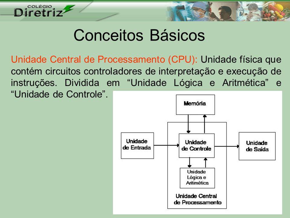 Conceitos Básicos Unidade Central de Processamento (CPU): Unidade física que contém circuitos controladores de interpretação e execução de instruções.