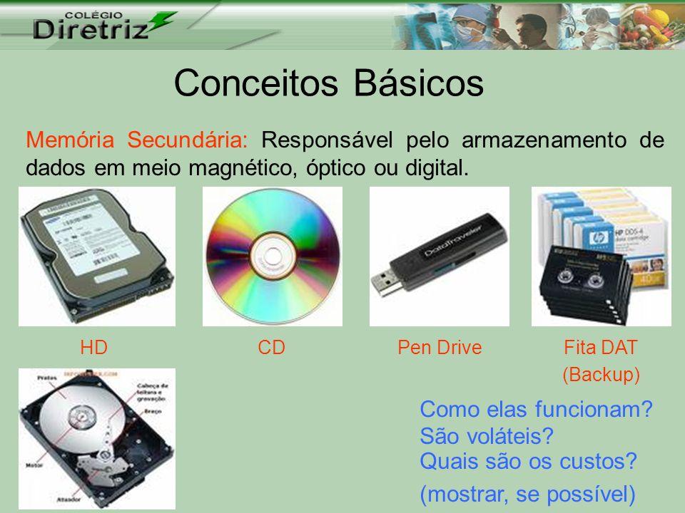 Conceitos Básicos Memória Secundária: Responsável pelo armazenamento de dados em meio magnético, óptico ou digital. HDCDPen DriveFita DAT (Backup) Com