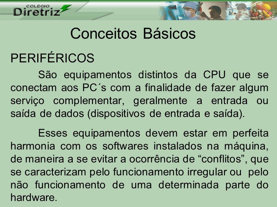 Conceitos Básicos PERIFÉRICOS São equipamentos distintos da CPU que se conectam aos PC´s com a finalidade de fazer algum serviço complementar, geralme