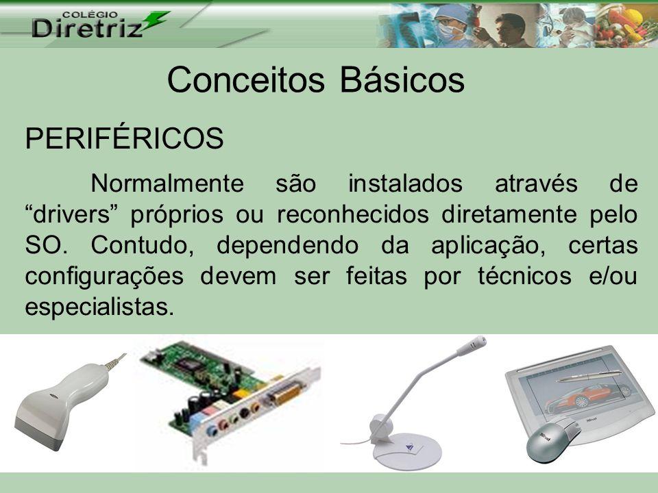 Conceitos Básicos PERIFÉRICOS Normalmente são instalados através de drivers próprios ou reconhecidos diretamente pelo SO. Contudo, dependendo da aplic